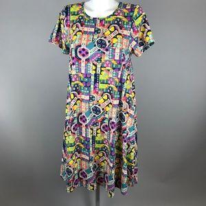 LuLaRoe Carly Bright Graphic Small World Dress S